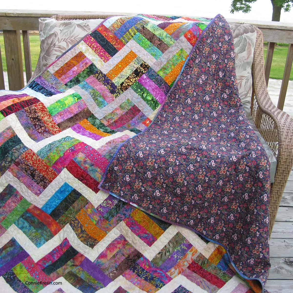 Backing on the split rail fence quilt
