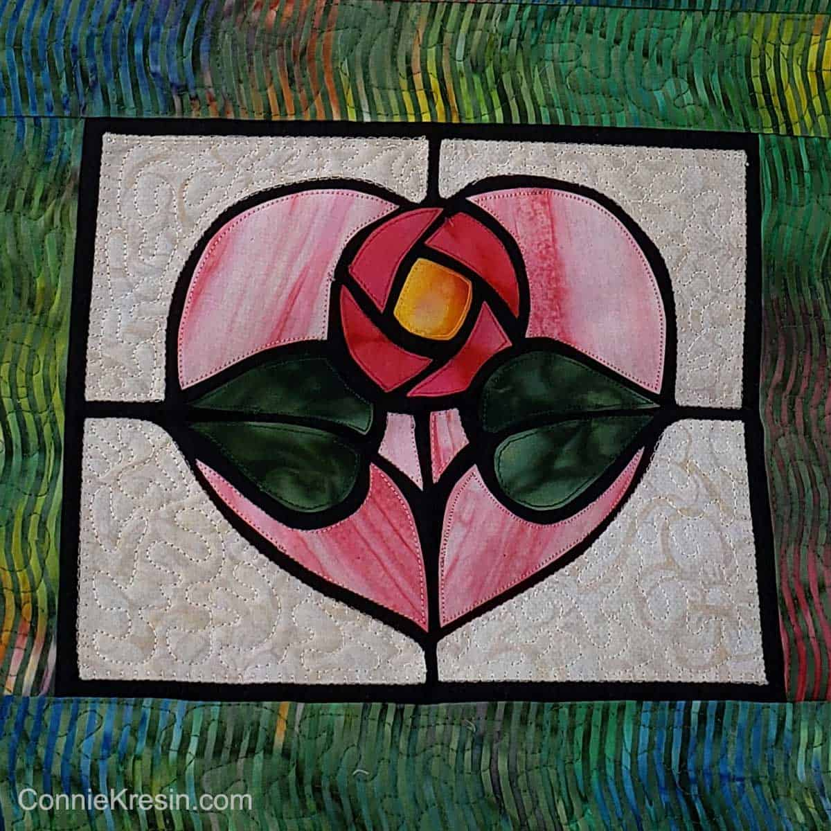 Closeup of stained glass applique