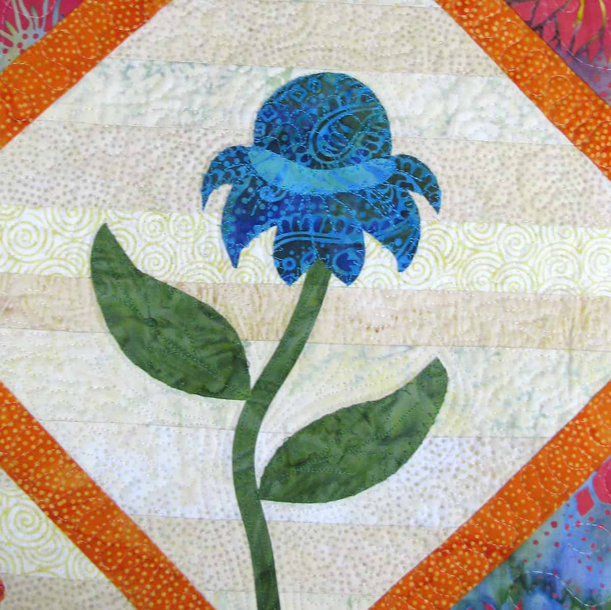 Blue batik flower