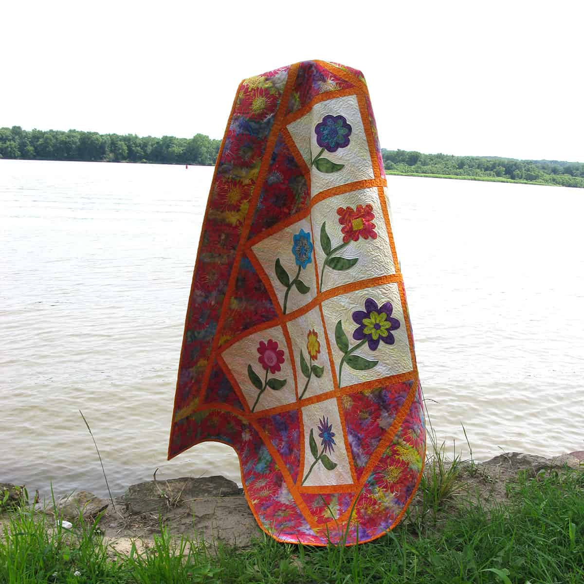 Summer Flowers quilt by the river