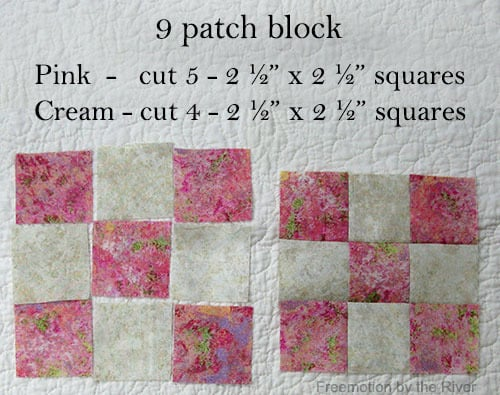 Summer table topper 9 patch blocks