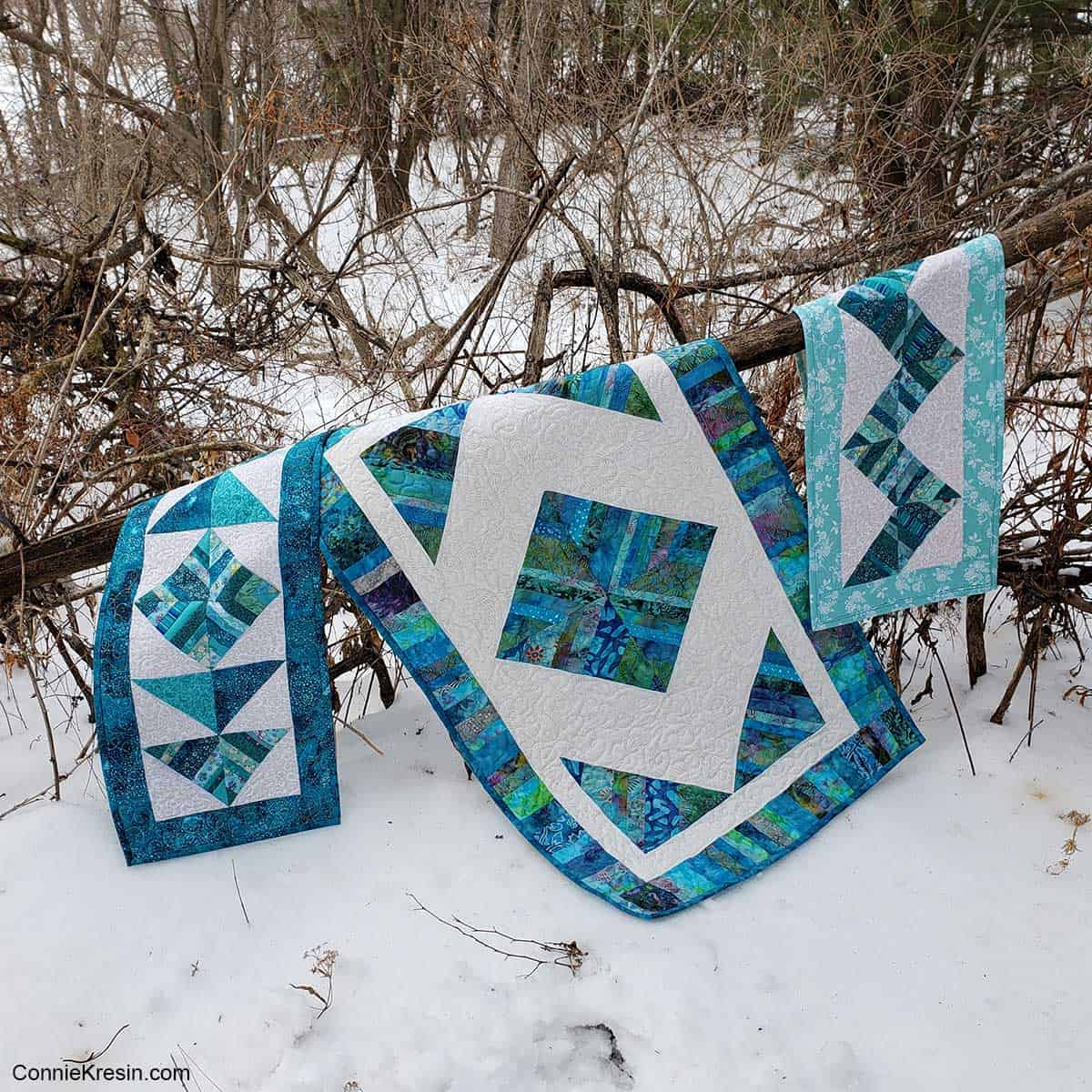 Teal String table runners by the woods