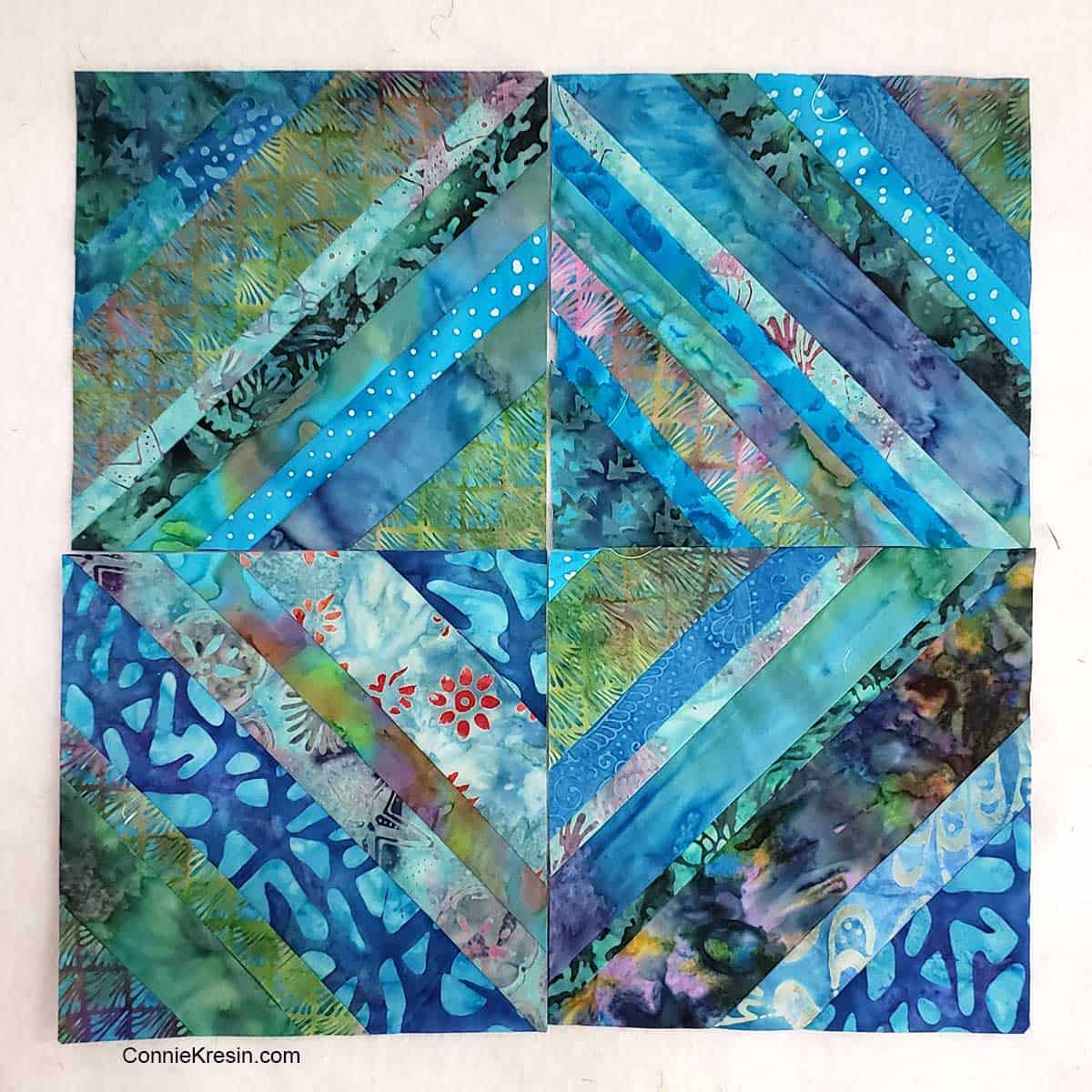 Completed string quilt block