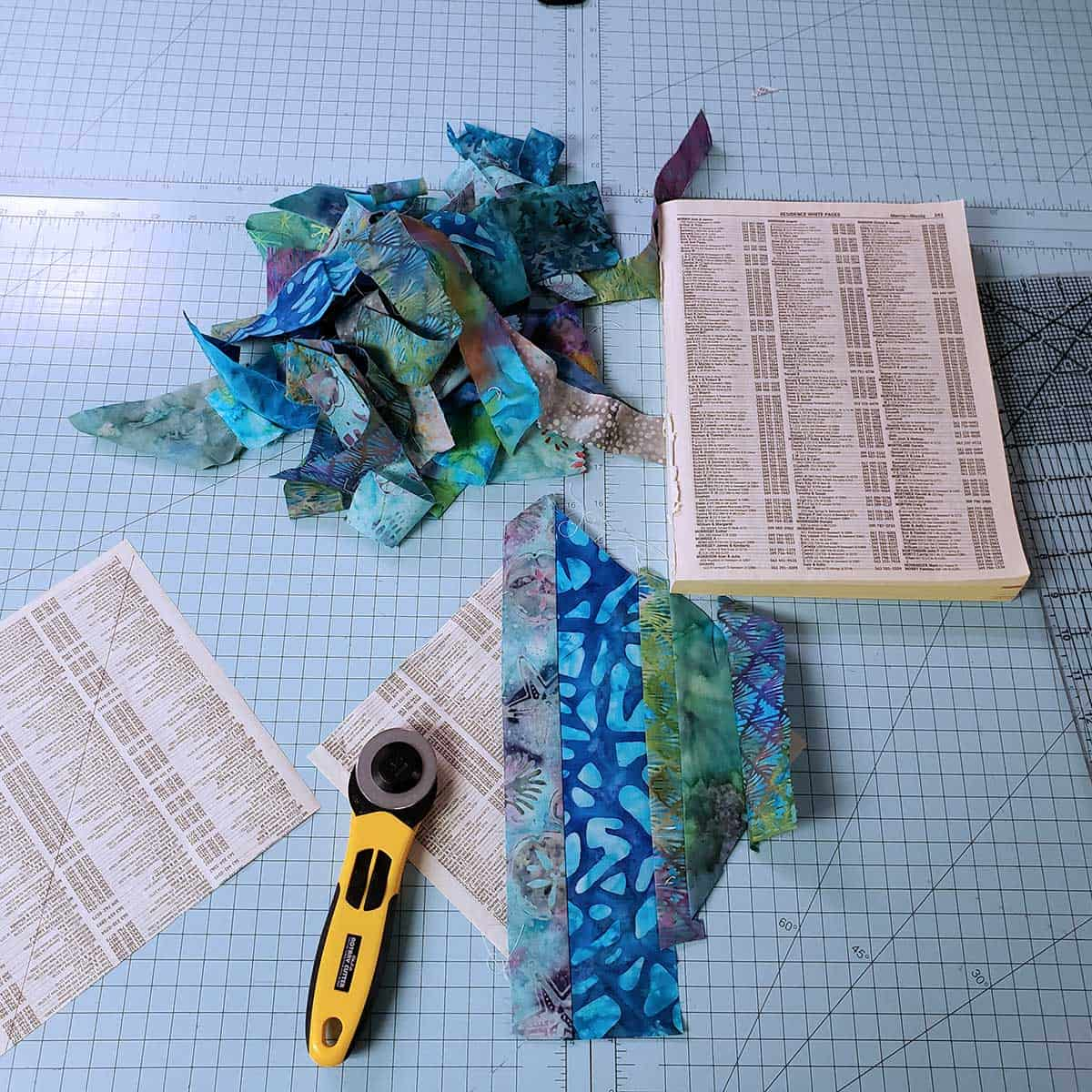 teal quilt fabric strings
