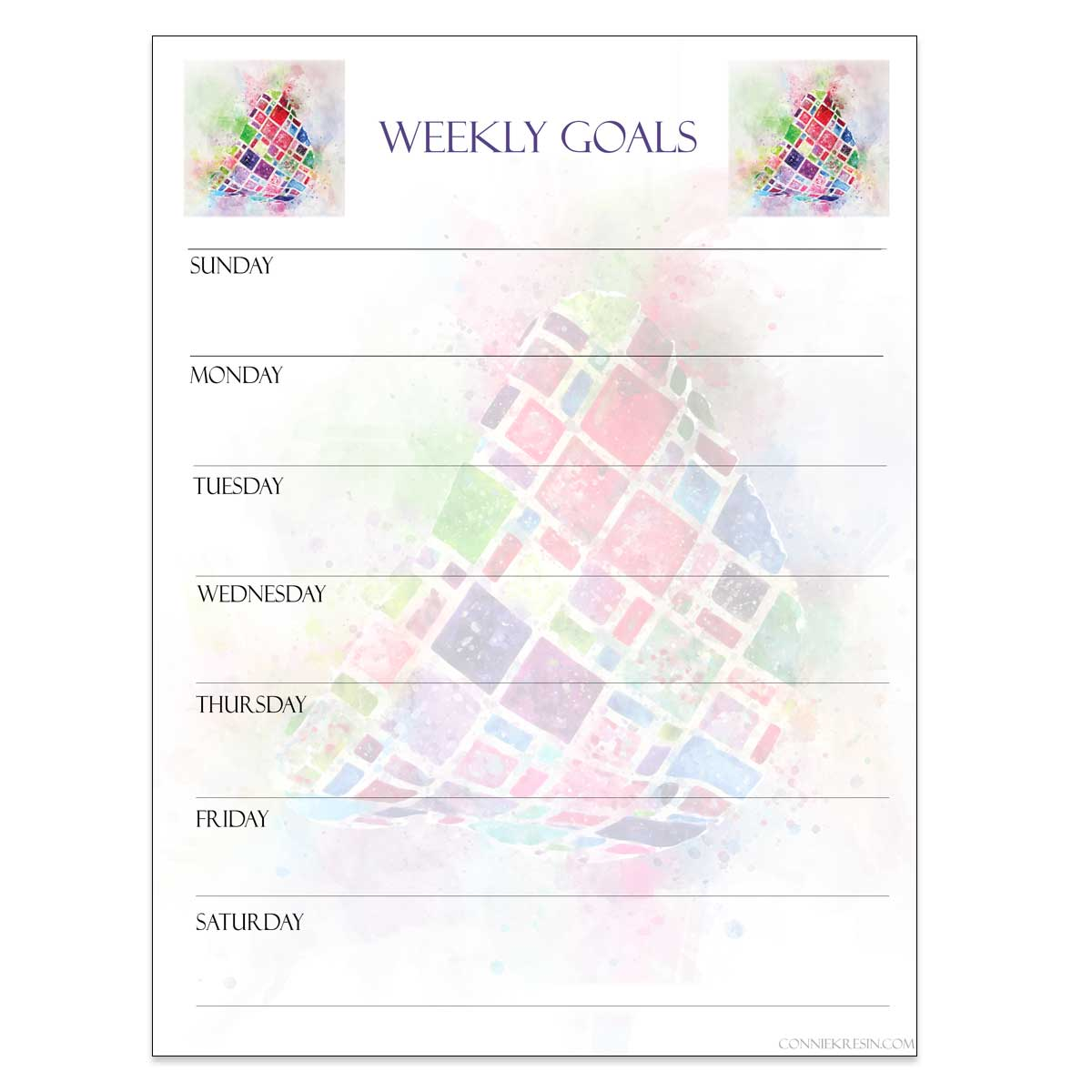 Weekly Goals printable starting on Sunday