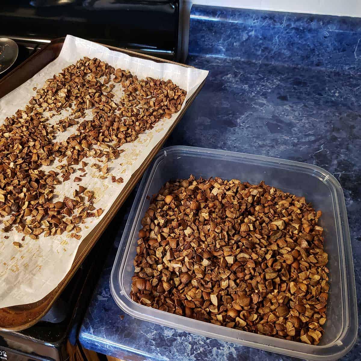 Drying the acorns