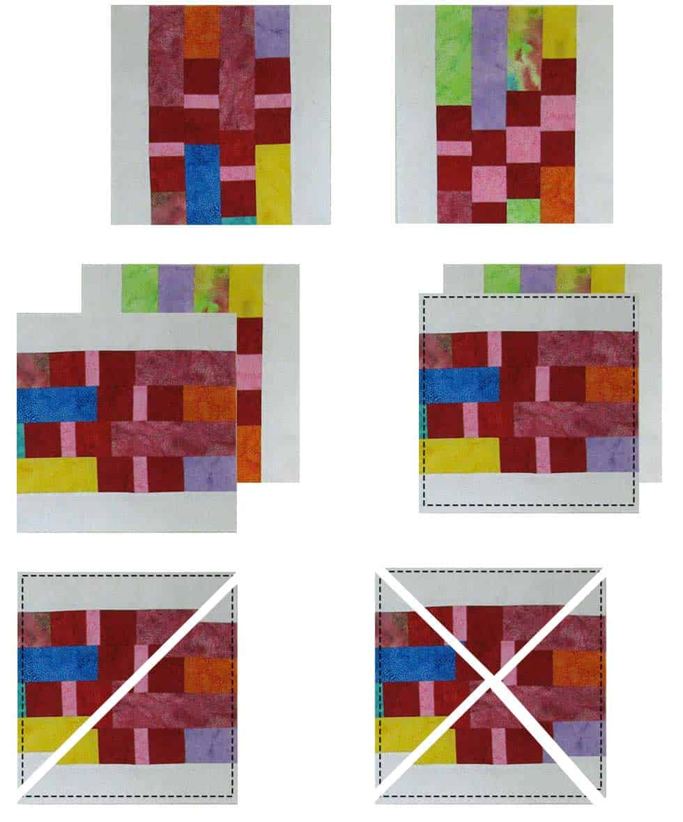 Creating the quilt blocks and then cutting them
