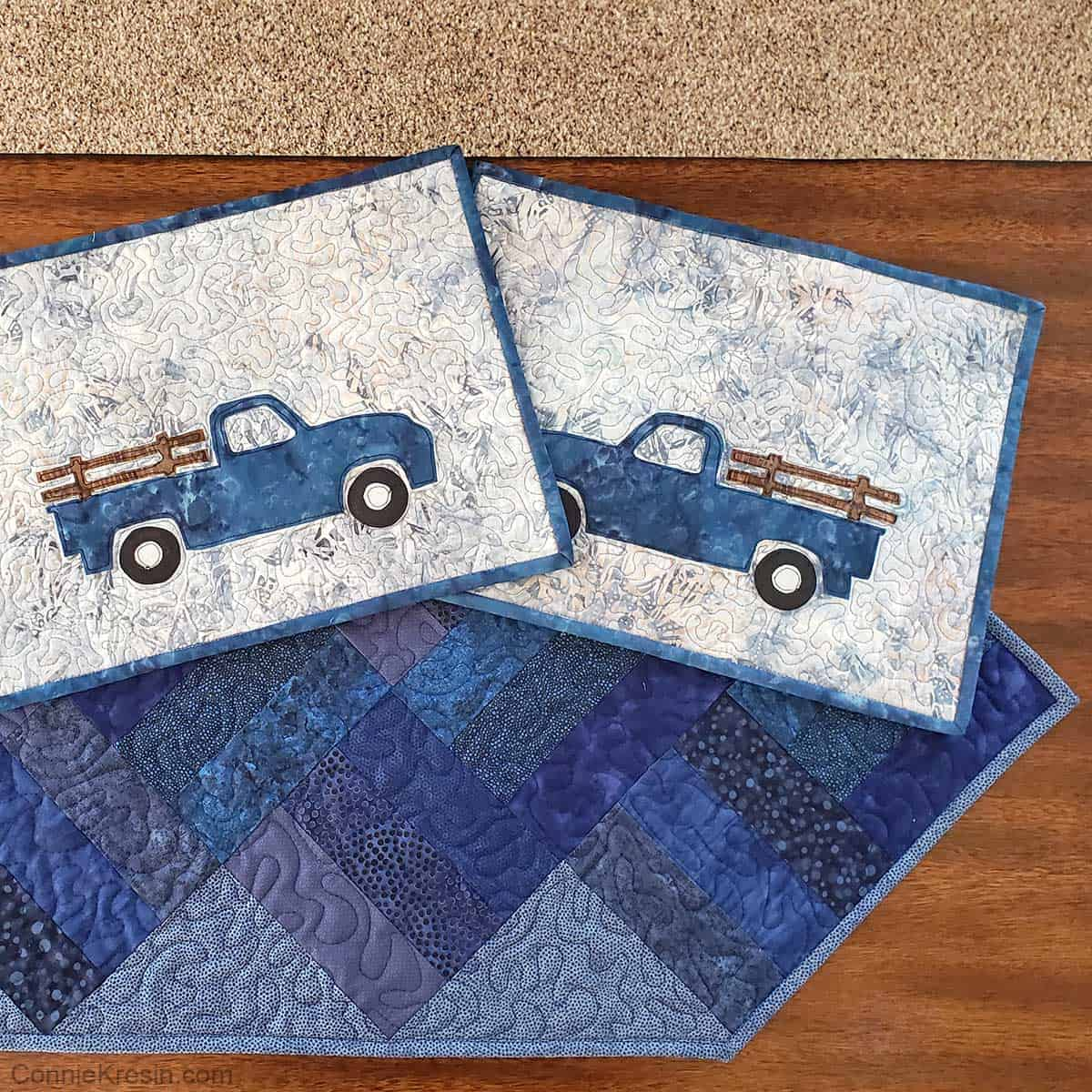 Blue truck placemats that match the table runner