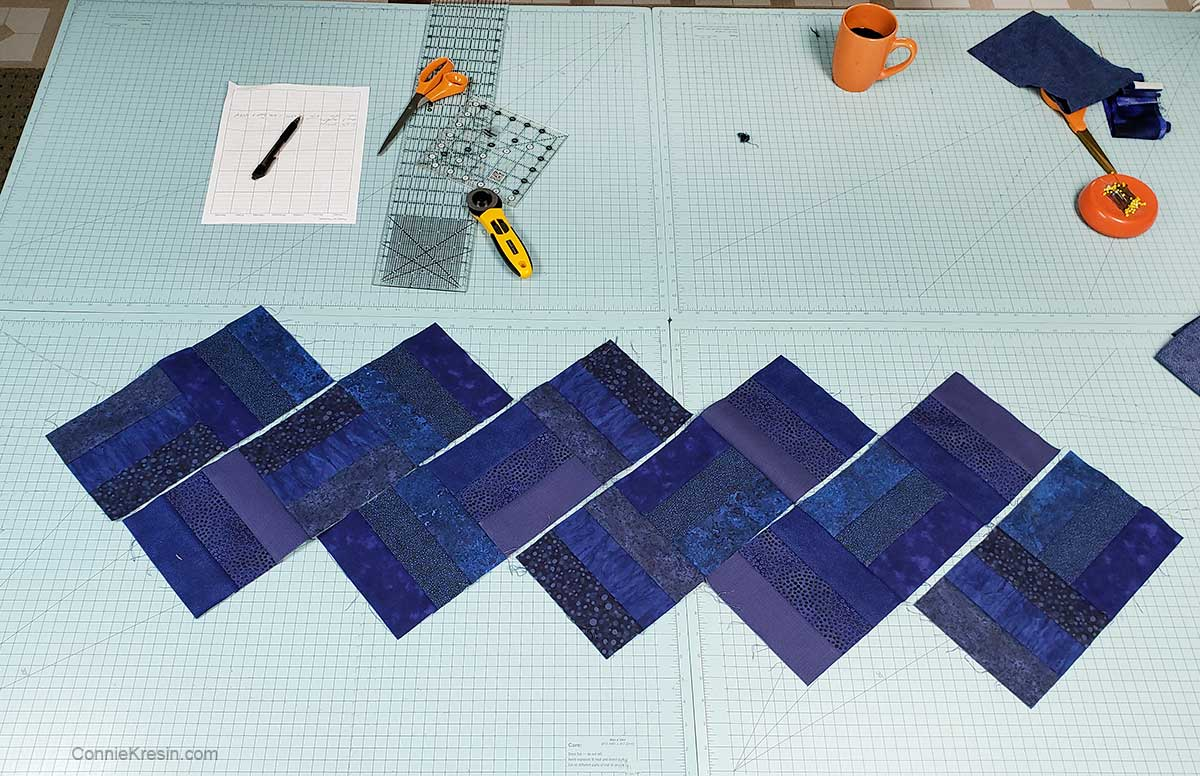 sew the rail fence blocks into rows