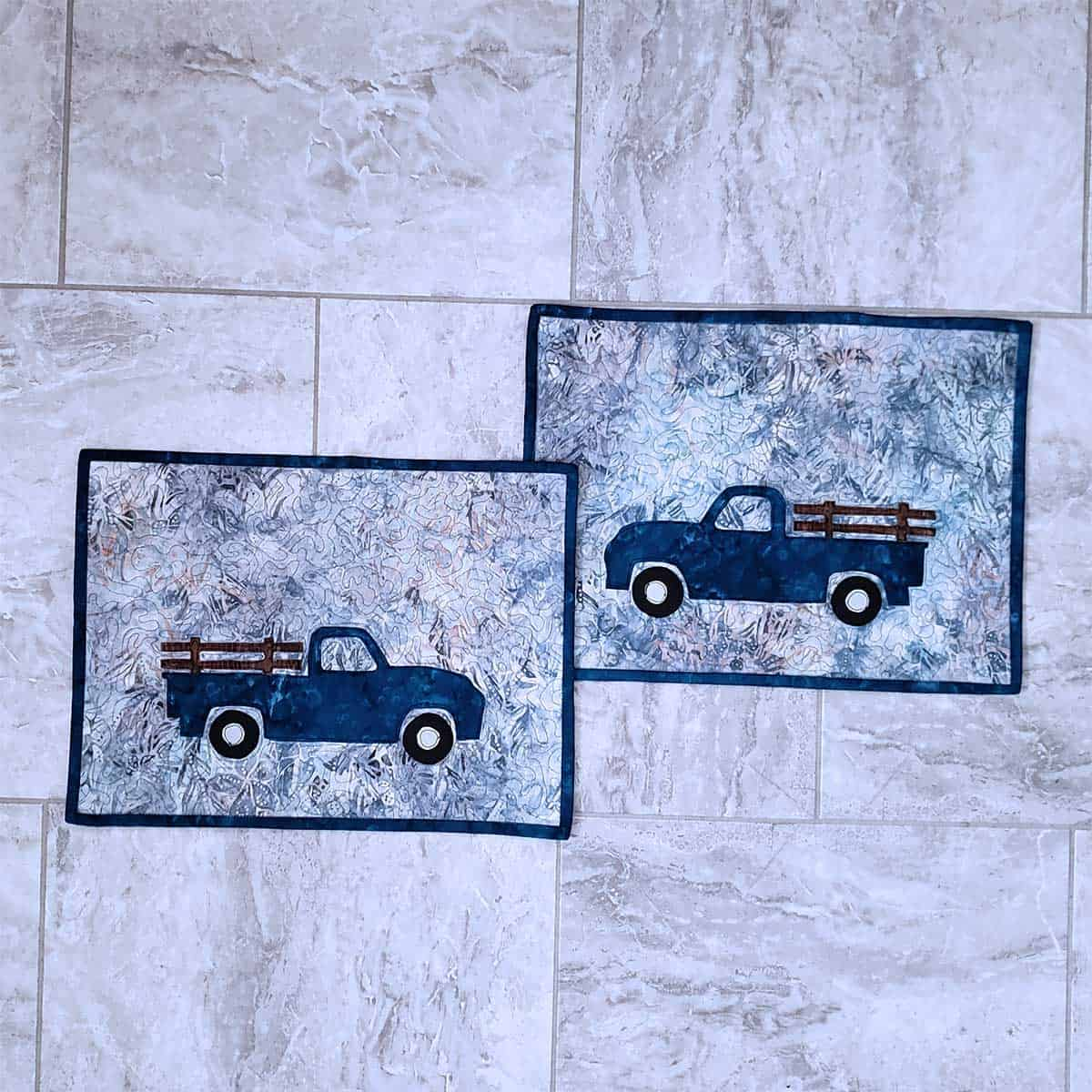 Vintage truck placemats appliqued
