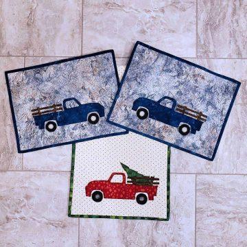 Blue vintage truck placemats