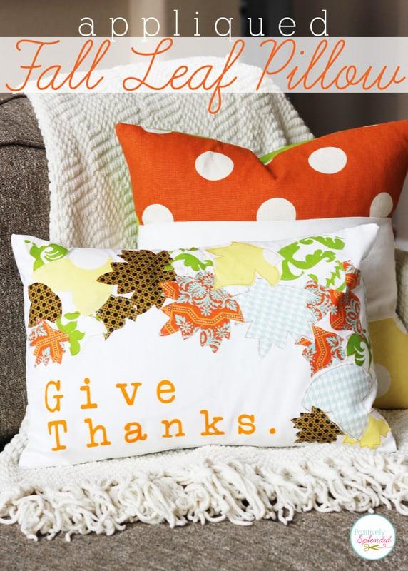 Applique Fall Leaf Pillow