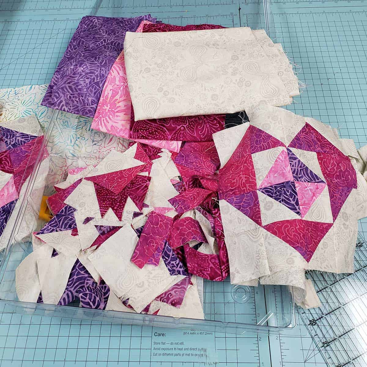 Box of leftover quilt blocks for hearts