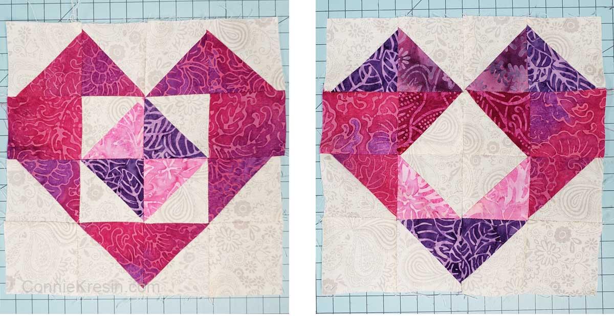Batik heart blocks used