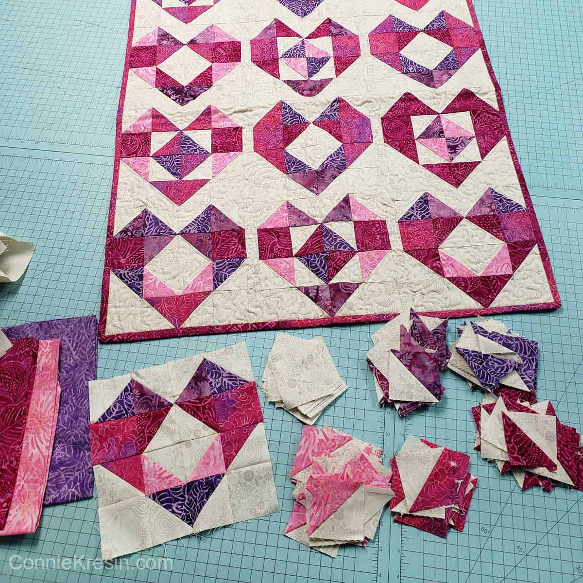 Heart quilt and extra blocks