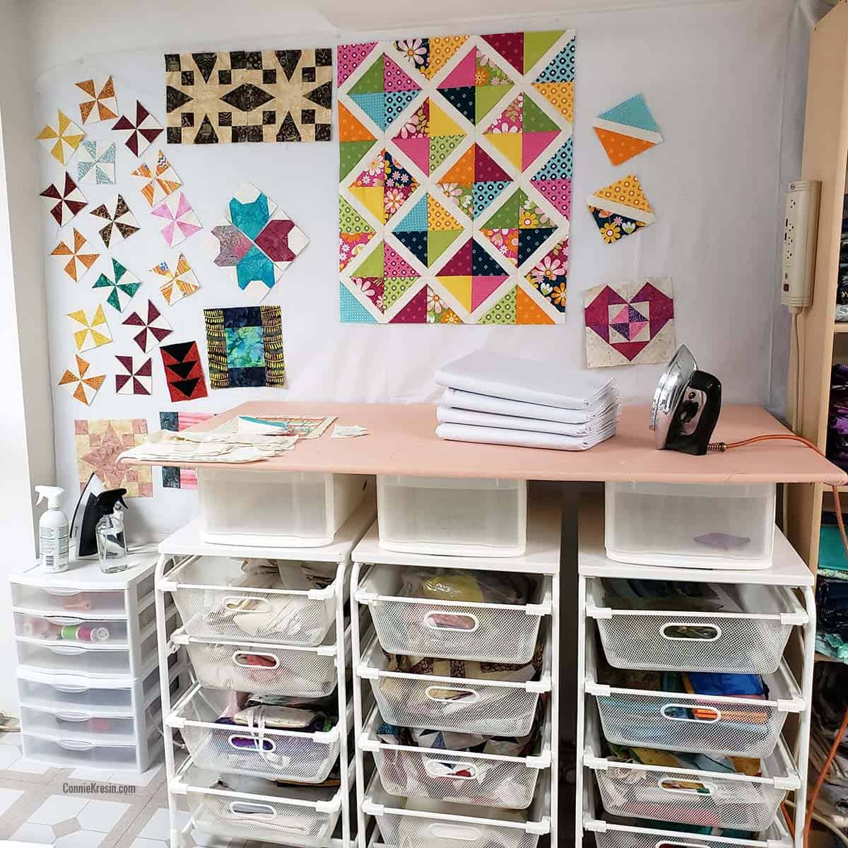 Design wall in quilt studio
