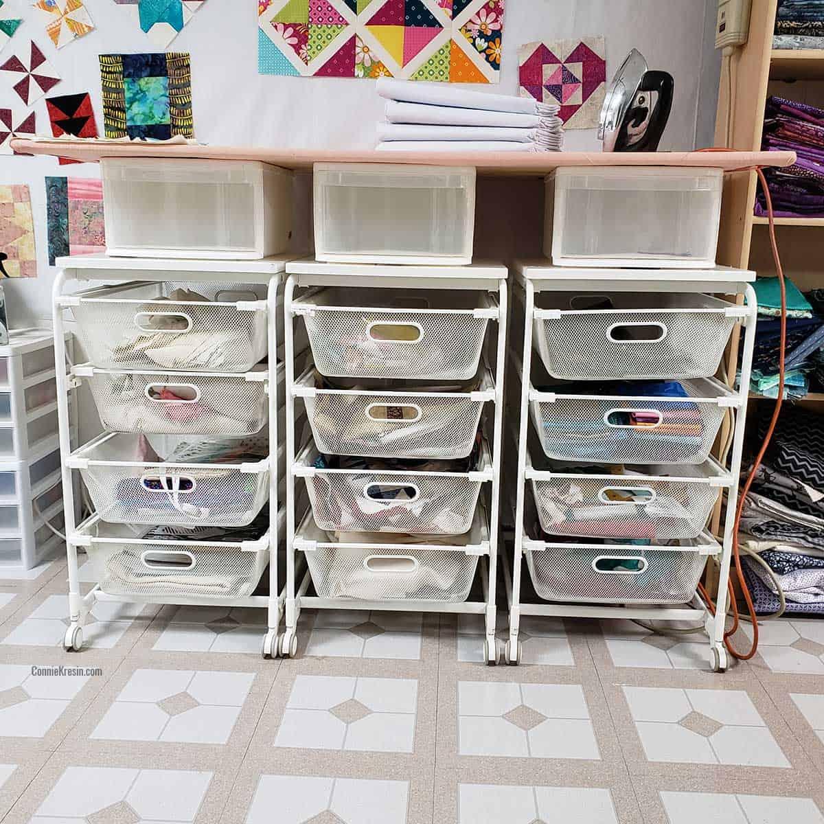 Closeup of ironing board setup