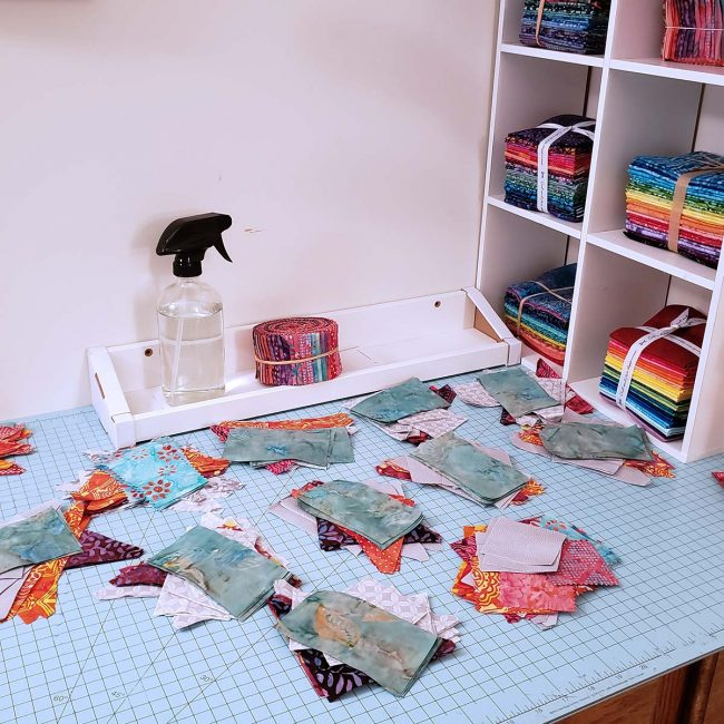 Cutting up blocks for my quilt