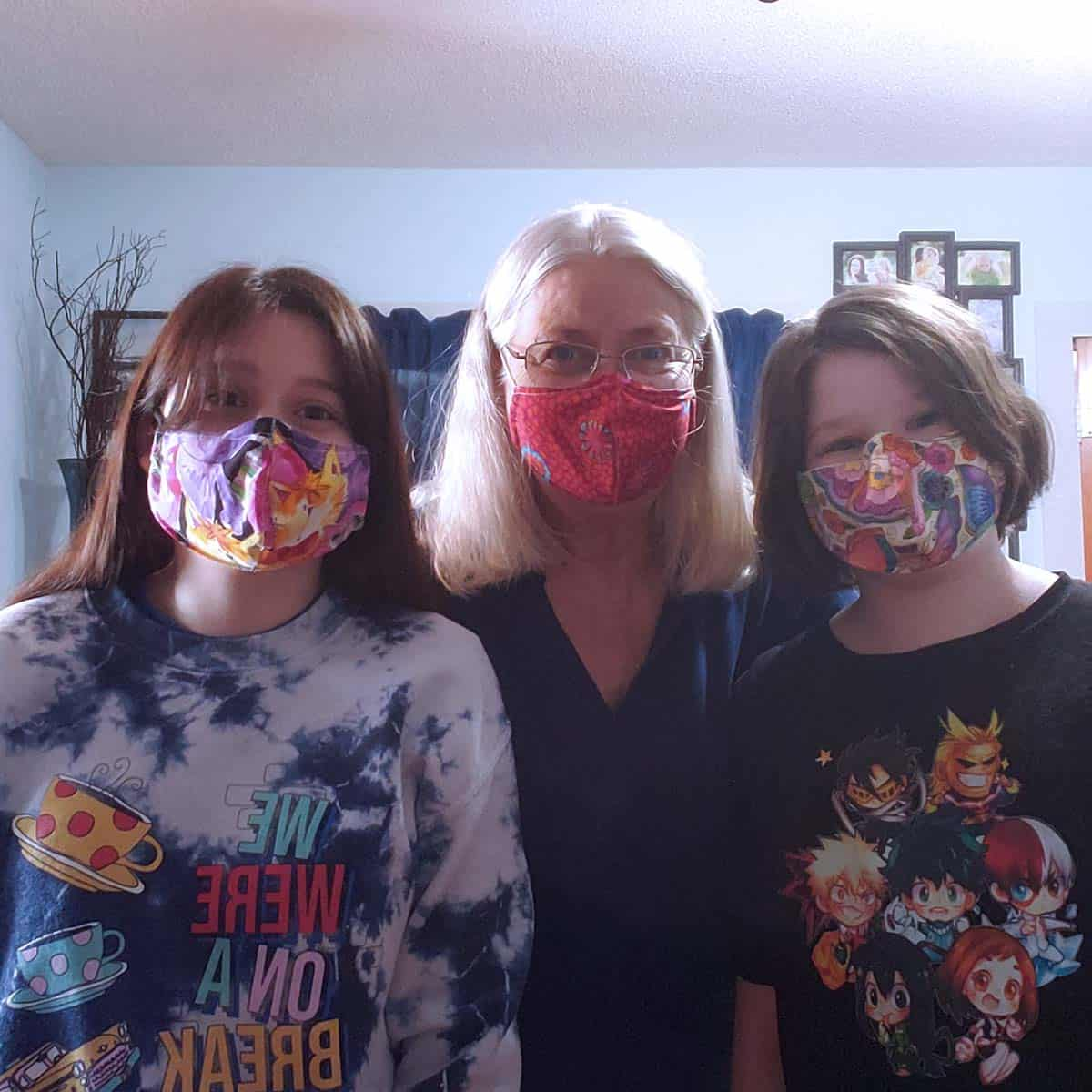 Masks worn by me and grandkids