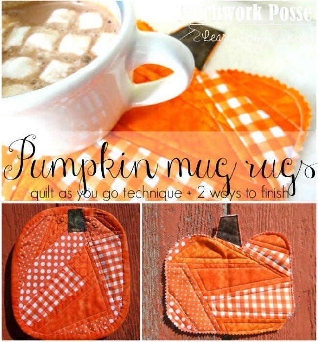 Quilt as you go Pumpkin Mug Rugs