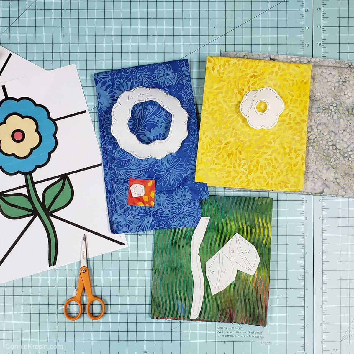 Quilted stained glass batik fabric shapes