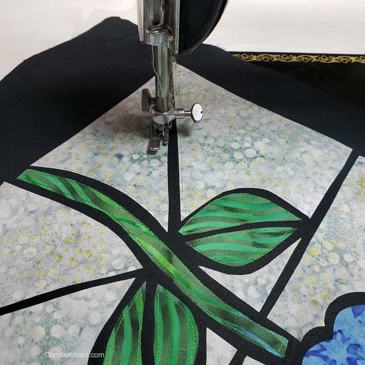 Stitch around each piece.