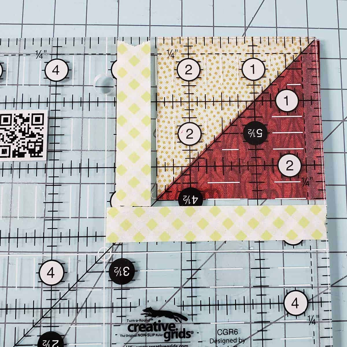 Trimming the quilt blocks to size