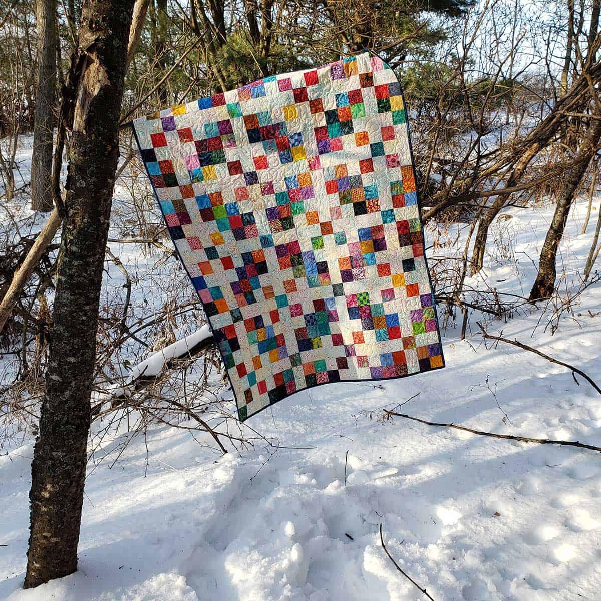 Scrappy Squares batik quilt in woods