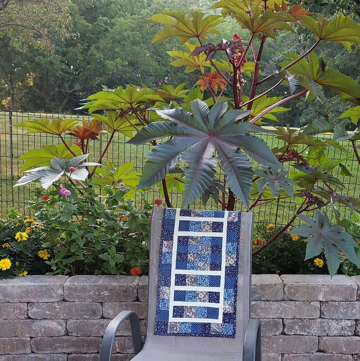 table runner by castor bean plant