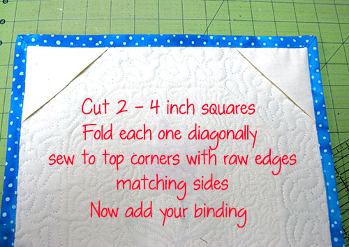 Add corners to back of wall hanging