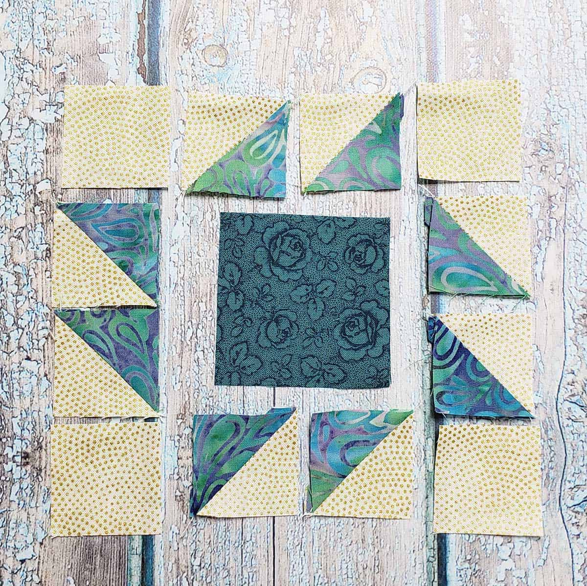 Piecing the Square and Points quilt block