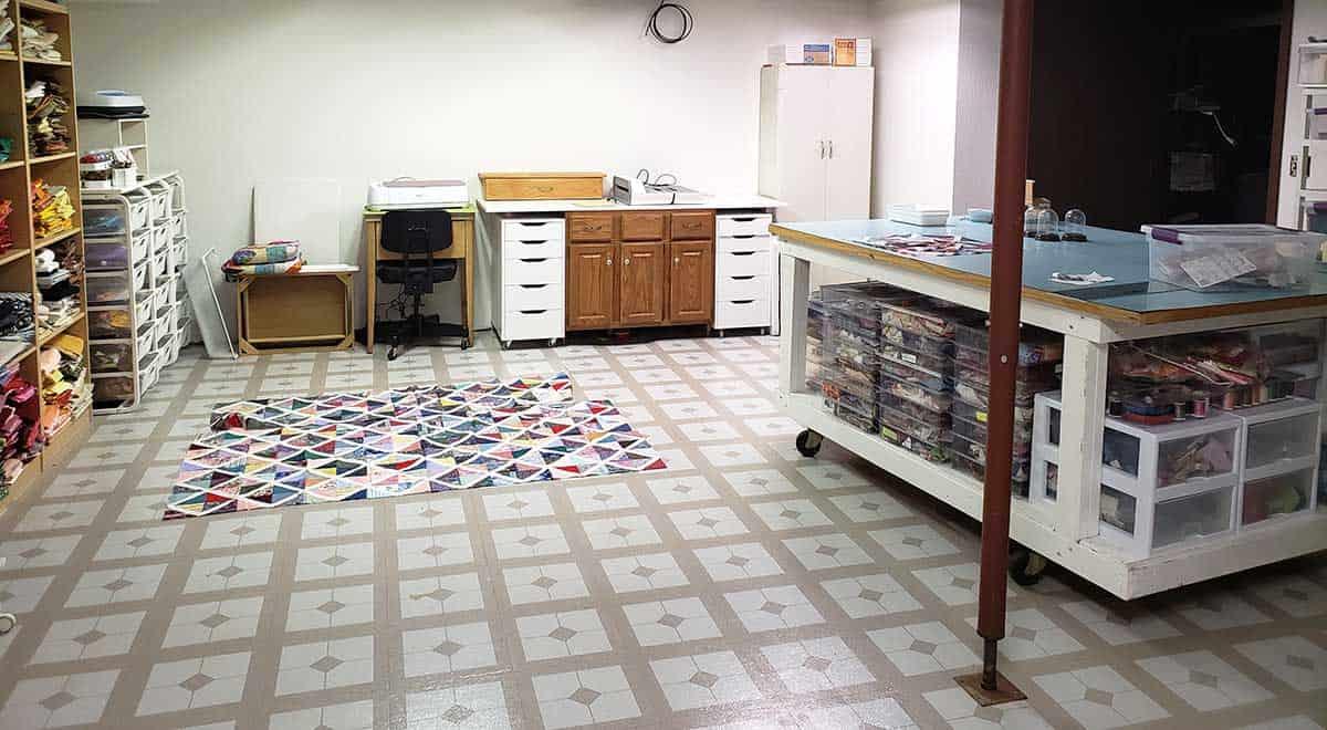 quilt on floor
