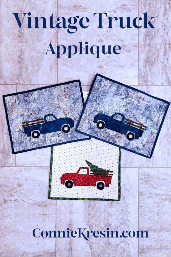 Vintage Truck applique placemats tablerunner
